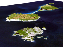 Saint-Pierre-et-Miquelon en 3D (source : wikimedia commons)